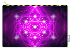 Carry-all Pouch featuring the digital art Metatron's Cube Vibration by Alexa Szlavics