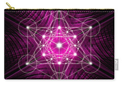 Carry-all Pouch featuring the digital art Metatron's Cube Waves by Alexa Szlavics