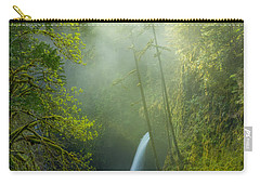 Carry-all Pouch featuring the photograph Metlako Falls Dressed In Fog by Patricia Davidson