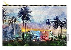 Miami Beach Watercolor Carry-all Pouch by Jon Neidert