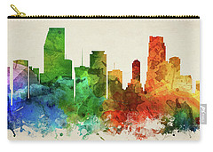 Miami Skyline Panorama Usflmi-pa03 Carry-all Pouch by Aged Pixel