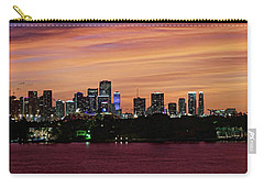 Carry-all Pouch featuring the photograph Miami Sunset Panorama by Gary Dean Mercer Clark