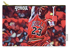 Carry-all Pouch featuring the painting Michael Jordan Slam Dunk by Dan Sproul