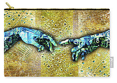 Carry-all Pouch featuring the mixed media Michelangelo's Creation Of Man by Tony Rubino