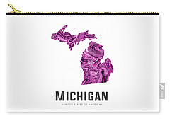 Michigan Map Art Abstract In Purple Carry-all Pouch