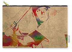 Mickey Mantle New York Yankees Baseball Player Watercolor Portrait On Distressed Worn Canvas Carry-all Pouch by Design Turnpike