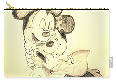 Mickey Minnie Cuddle Buddies - Sepia Carry-all Pouch