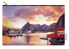 Carry-all Pouch featuring the photograph Midnight Sun On Hamnoy by Dmytro Korol