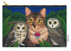 Carry-all Pouch featuring the painting Midnight Watching - Abyssinian Cat Saw Whet Owls by Carrie Hawks