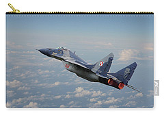 Carry-all Pouch featuring the digital art Mig 29 - Polish Fulcrum Dedication by Pat Speirs