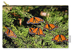 Carry-all Pouch featuring the photograph Migrating Monarchs by AJ Schibig