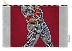Carry-all Pouch featuring the mixed media Mike Trout Los Angeles Angels Art 1 by Joe Hamilton