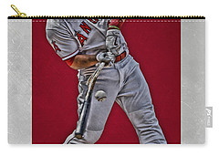 Carry-all Pouch featuring the mixed media Mike Trout Los Angeles Angels Art 2 by Joe Hamilton