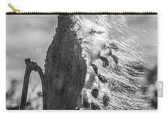 Milkweed Pod Back Lit B And W Carry-all Pouch