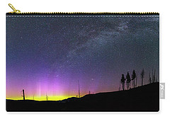 Carry-all Pouch featuring the photograph Milky Way And Aurora Borealis by Cat Connor