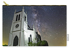 Carry-all Pouch featuring the photograph Milky Way Over Church by Lori Coleman