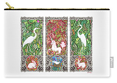 Carry-all Pouch featuring the drawing Millefleurs Triptych With Unicorn, Cranes, Rabbits And Dove by Lise Winne