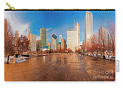 Carry-all Pouch featuring the photograph Millennium Park Skyline And The Bean  by Tom Jelen
