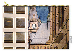 Carry-all Pouch featuring the digital art Milwaukee City Hall by David Blank