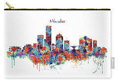 Carry-all Pouch featuring the mixed media Milwaukee Watercolor Skyline by Marian Voicu