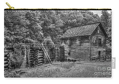 Carry-all Pouch featuring the photograph Mingus Mill Black And White Mingus Creek Great Smoky Mountains Art by Reid Callaway