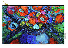 Mini Floral On Red Round Table Carry-all Pouch