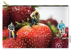 Miniature Construction Workers On Strawberries Carry-all Pouch