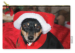 Carry-all Pouch featuring the photograph Miniature Pinscher Wishing A Merry Christmas by Christian Lagereek
