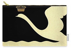 Minimalist Swan Queen Flying Crowned Swan Carry-all Pouch by Tina Lavoie