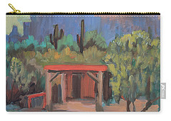 Carry-all Pouch featuring the painting Mining Camp At Superstition Mountain Museum by Diane McClary