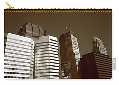 Carry-all Pouch featuring the photograph Minneapolis Skyscrapers 5 Sepia by Frank Romeo