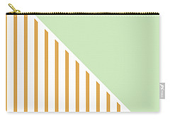 Mint And Gold Geometric Carry-all Pouch by Linda Woods