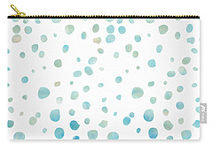Mint Blue Watercolor Confetti Dots Carry-all Pouch