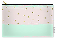 Mint Peach Gold Confetti Stripes Carry-all Pouch
