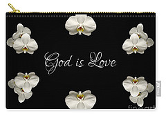 Carry-all Pouch featuring the photograph Mirrored Orchids Framing God Is Love by Rose Santuci-Sofranko
