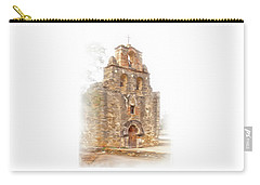 Carry-all Pouch featuring the photograph Mission San Francisco De La Espada In Faux Pencil Drawing  by David and Carol Kelly