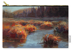 Carry-all Pouch featuring the painting Misty Autumn Meadow With Creek And Grass - Landscape Painting From Alaska by Karen Whitworth
