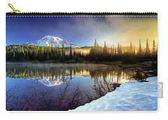 Carry-all Pouch featuring the photograph Misty Morning Lake by William Lee