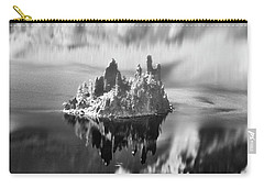Carry-all Pouch featuring the photograph Misty Phantom Ship Island Crater Lake B W  by Frank Wilson