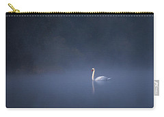 Carry-all Pouch featuring the photograph Misty River Swan by Davor Zerjav