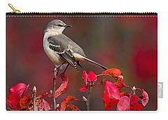 Mockingbird On Red Carry-all Pouch by William Jobes