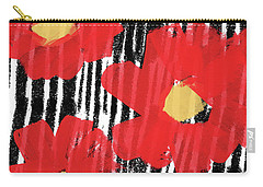 Carry-all Pouch featuring the mixed media Modern Red Flowers- Art By Linda Woods by Linda Woods