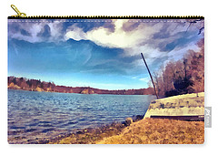 Carry-all Pouch featuring the painting Mohegan Lake Lonely Boat by Derek Gedney