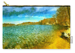 Carry-all Pouch featuring the painting Mohegan Lake Panoramic Beach by Derek Gedney