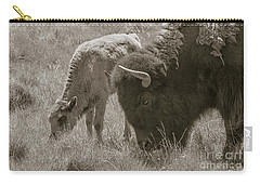 Carry-all Pouch featuring the photograph Mom And Baby Buffalo by Rebecca Margraf