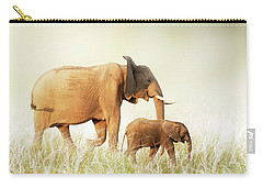 Mom And Baby Elephant Walking Through Tall Grass Carry-all Pouch