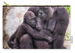 Mom And Baby Gorilla Sitting Carry-all Pouch by Stephanie Hayes