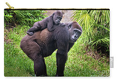 Mom And Baby Gorilla Carry-all Pouch by Stephanie Hayes