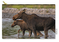 Mom And Baby Moose River Crossing Carry-all Pouch by Mary Hone