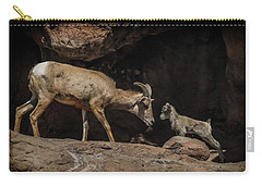 Carry-all Pouch featuring the photograph Mom N Baby Desert Big Horn Sheep by Elaine Malott